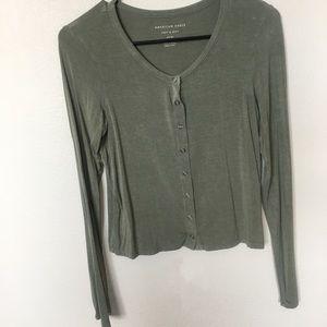 American eagle button down long sleeve shirt green
